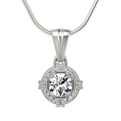 Audrey - Wisiorek z diamentami białe zloto