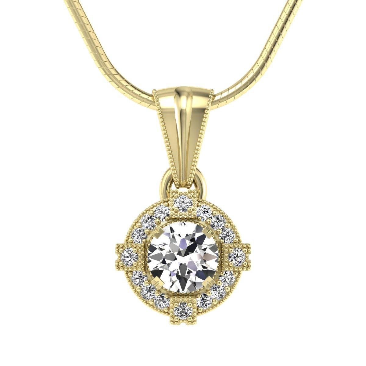 Audrey - Wisiorek z diamentami żółte zloto