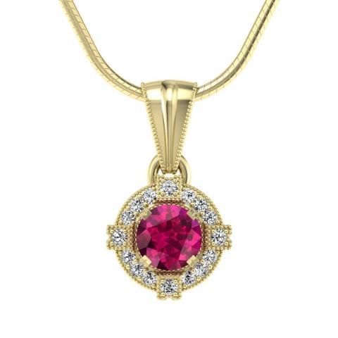 Audrey - Wisiorek złoty z rubinem i diamentami