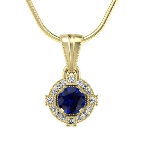 Audrey - Wisiorek złoty z szafirem i diamentami