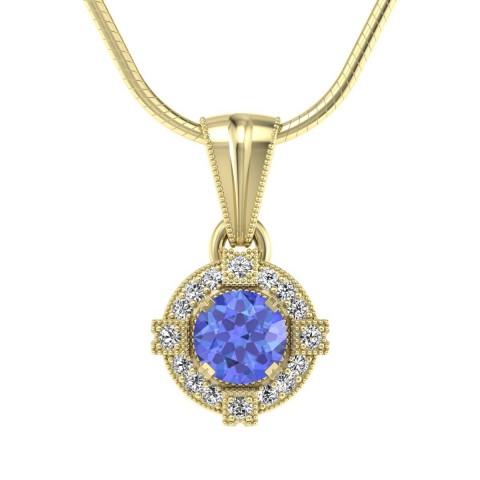 Audrey - Wisiorek złoty z tanzanitem i diamentami