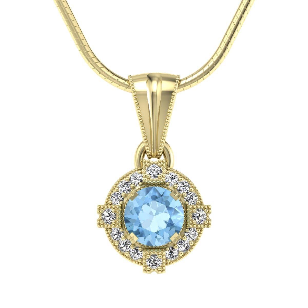 Audrey - Wisiorek złoty z topazem i diamentami