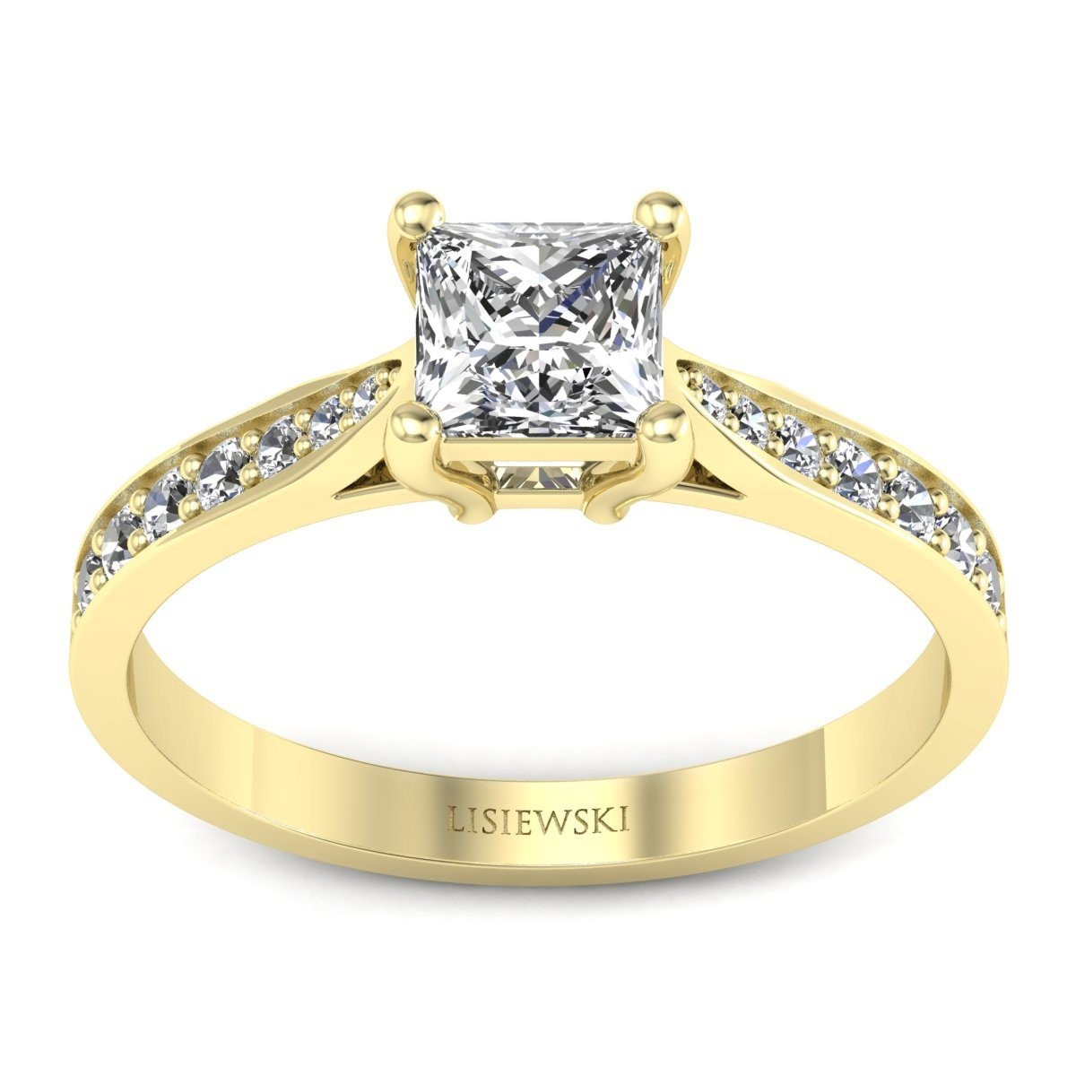 Złoty pierścionek z diamentem princess