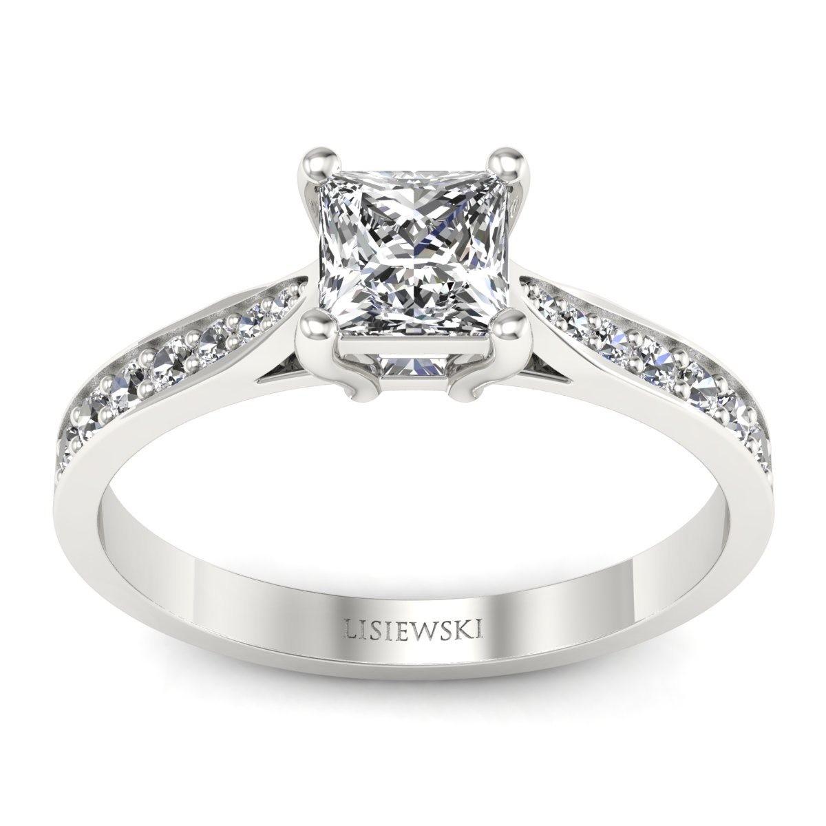 Platynowy pierścionek z diamentem princess
