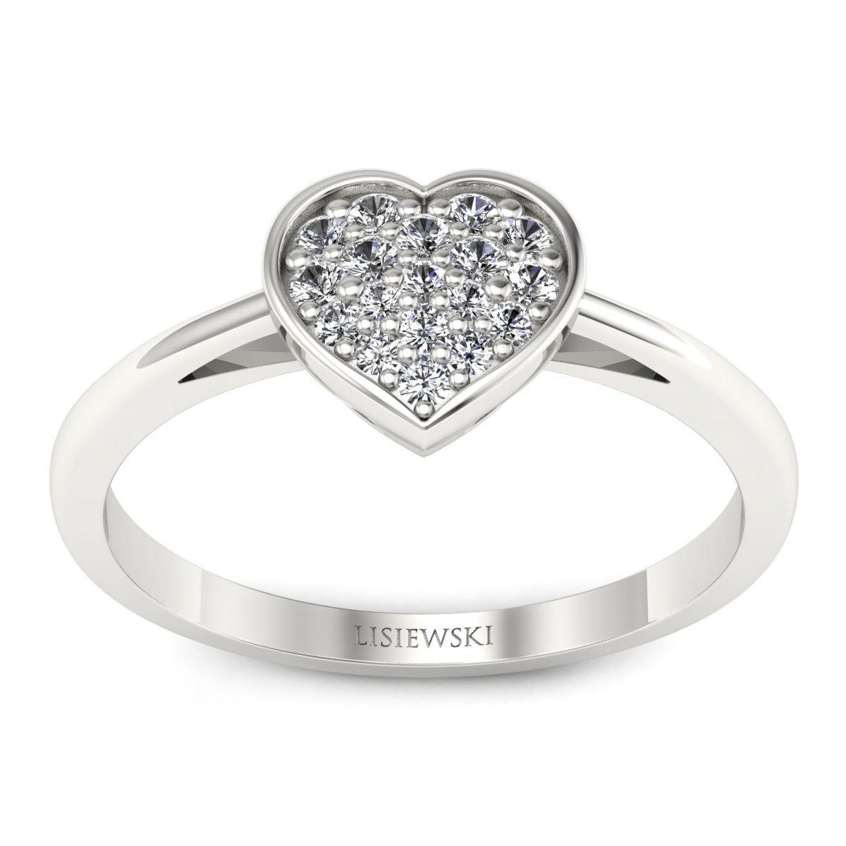 Heart - Pierścionek z diamentami białe złoto