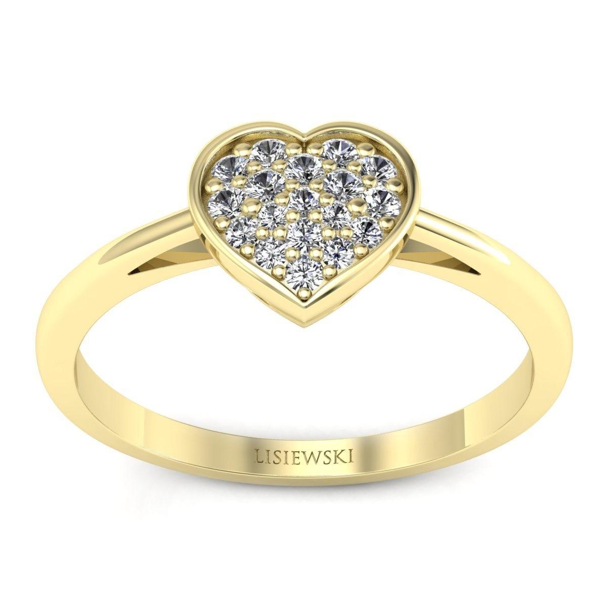 Heart - Złoty pierścionek z diamentami