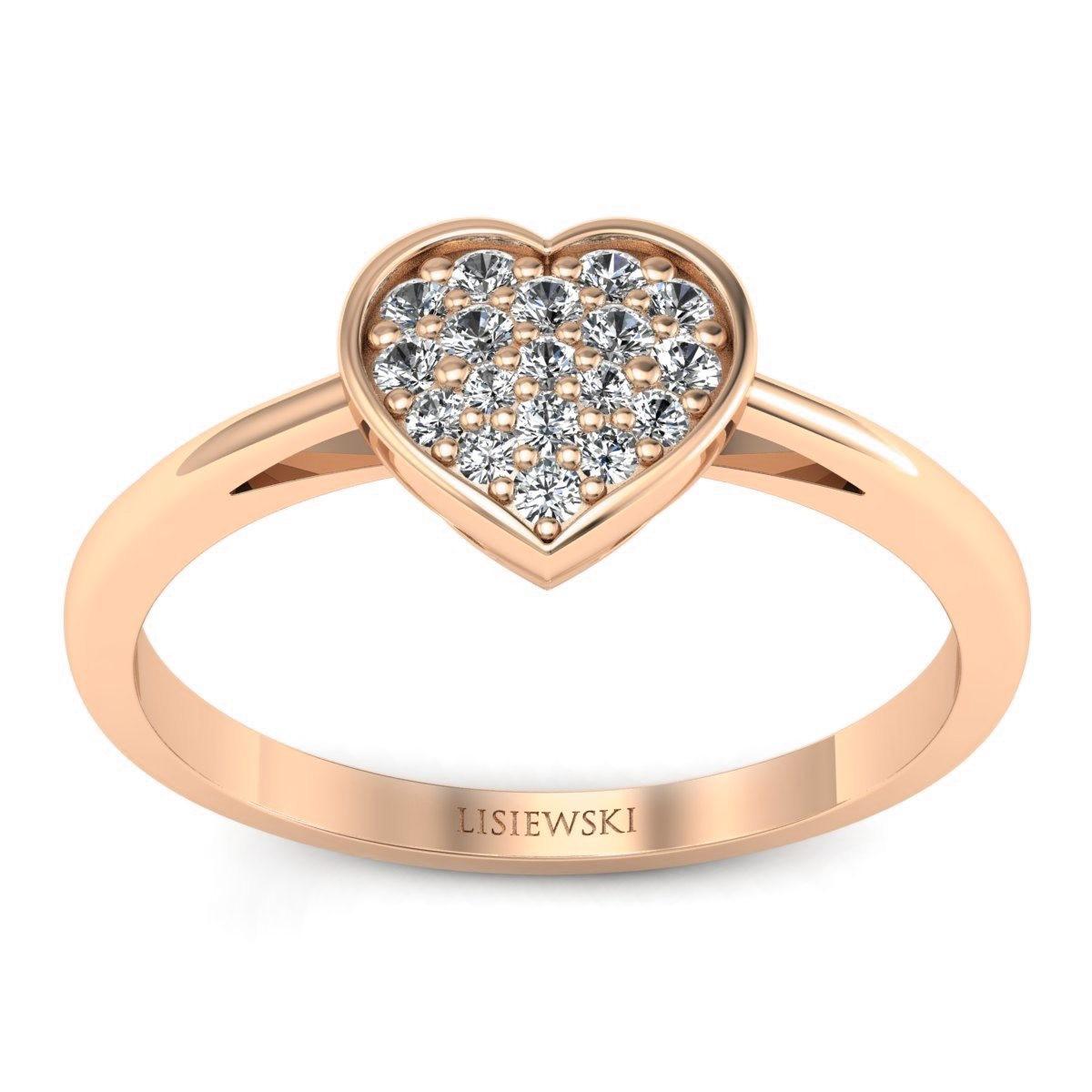 Heart - Różowe złoto pierścionek z diamentami