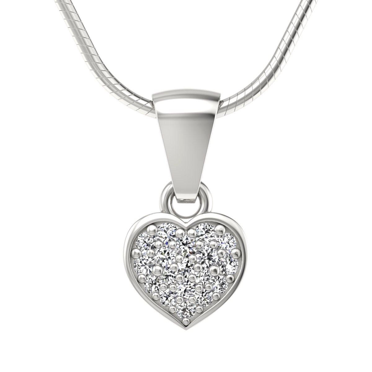 Heart - Wisiorek z diamentami białe zloto