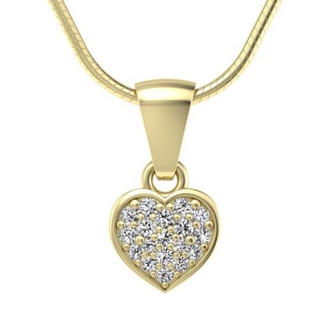 Heart - Złoty wisiorek z diamentami