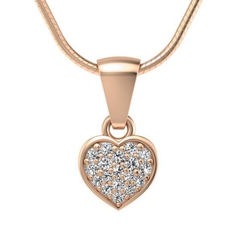 Heart - Wisiorek z diamentami różowe złoto