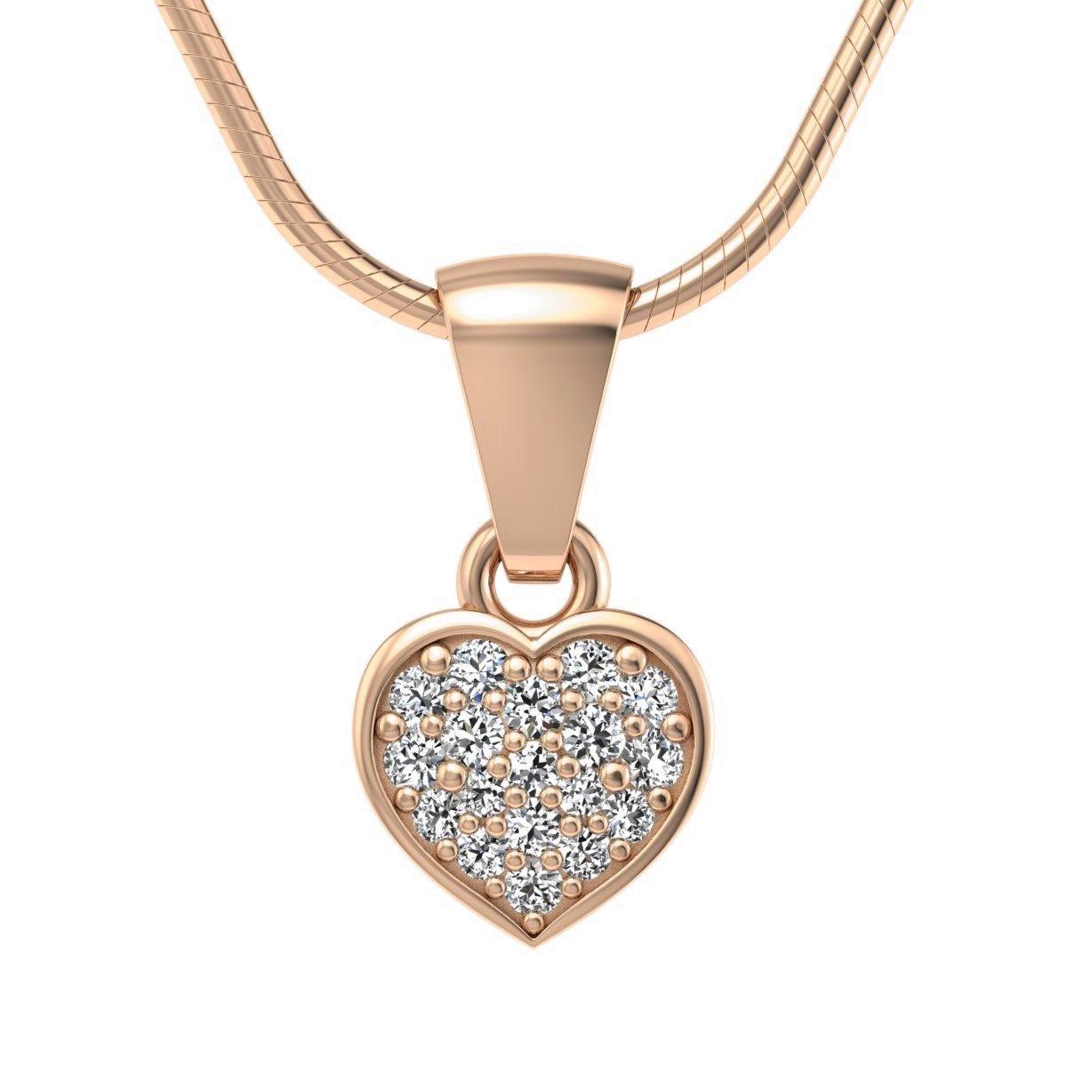 Heart - Różowe złoto wisiorek z diamentami
