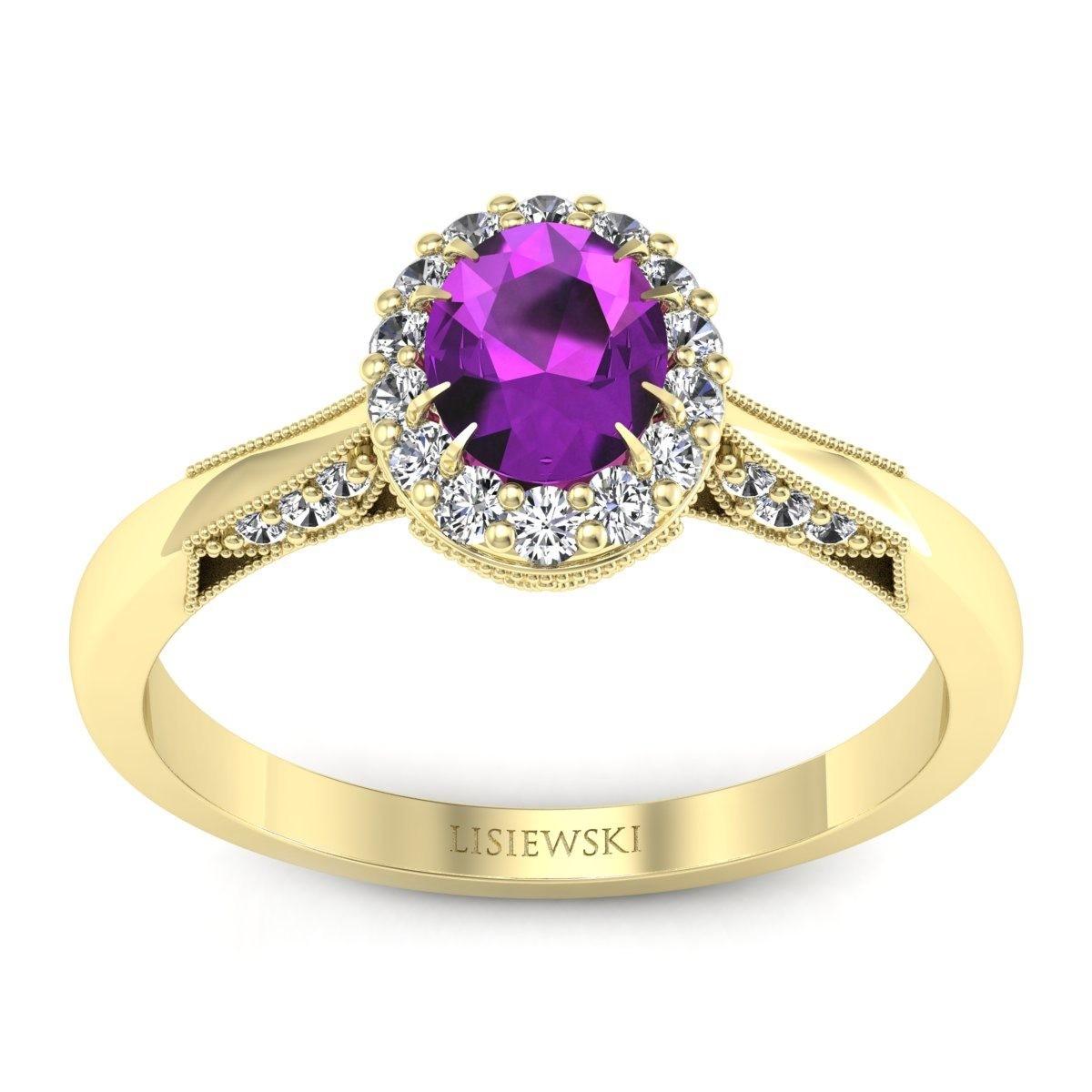 Diana - Złoty pierścionek z ametystem i diamentami