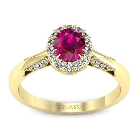 Diana - Złoty pierścionek z rubinem i diamentami