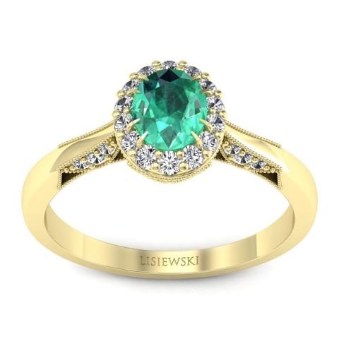 Diana - Złoty pierścionek ze szmaragdem i diamentami