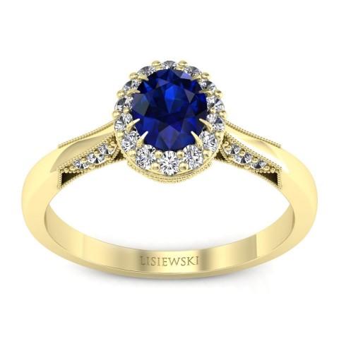 Diana - Złoty pierścionek z szafirem i diamentami