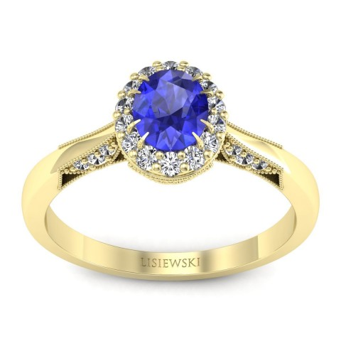 Diana - Złoty pierścionek szafir cejloński i diamenty