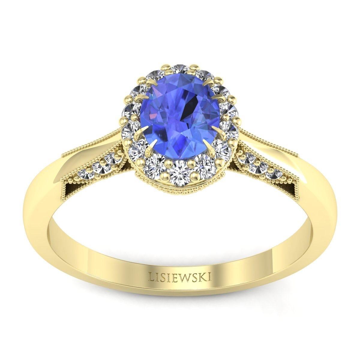 Diana - Złoty pierścionek z tanzanitem i diamentami