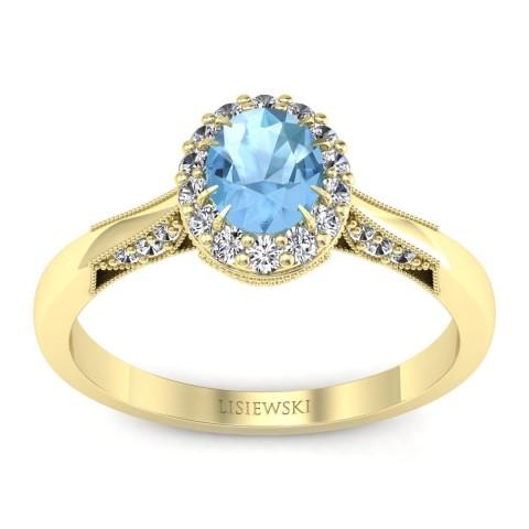 Diana - Złoty pierścionek z topazem i diamentami