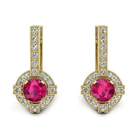 Audrey - Złote kolczyki z rubinami i diamentami