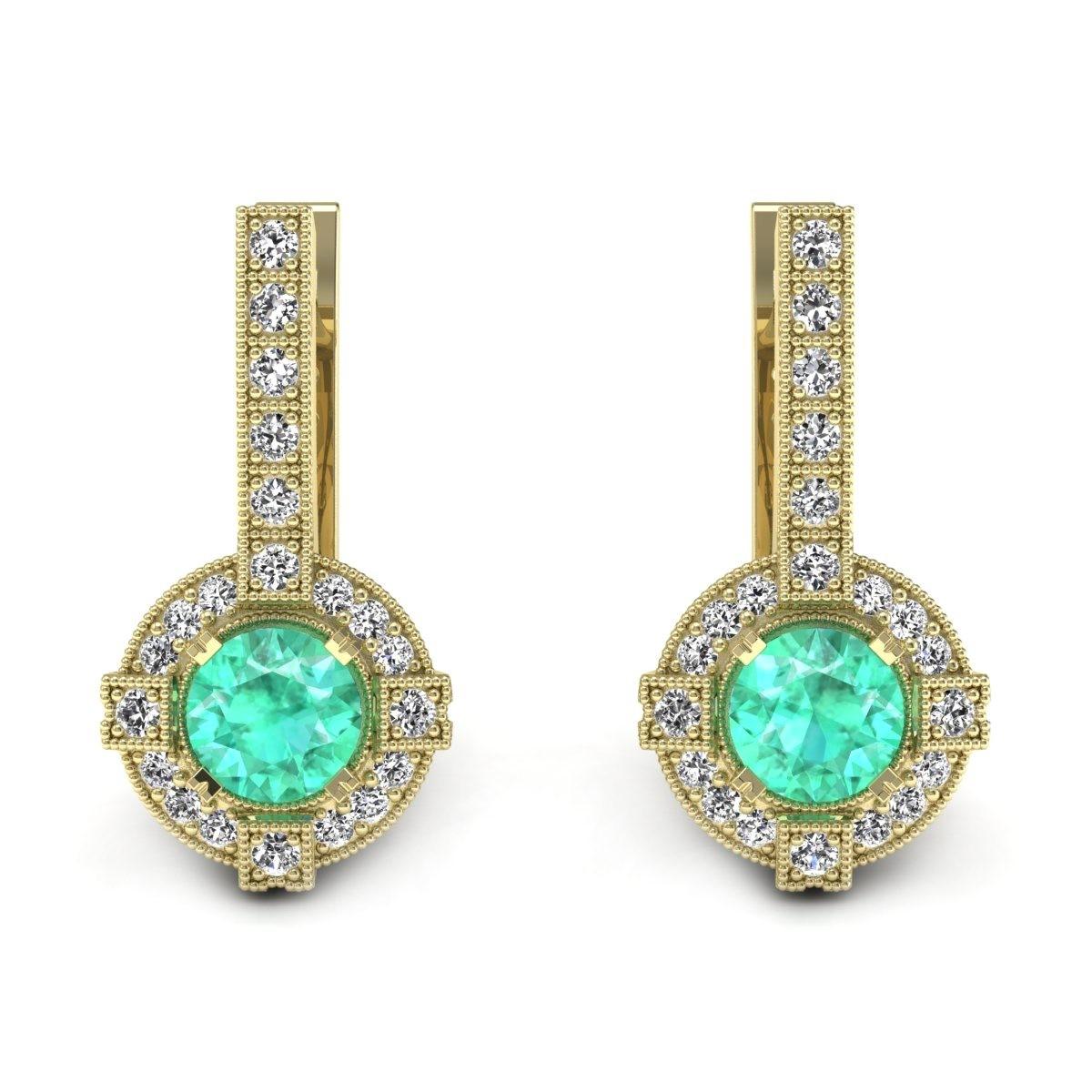 Audrey - Złote kolczyki ze szmaragdami i diamentami