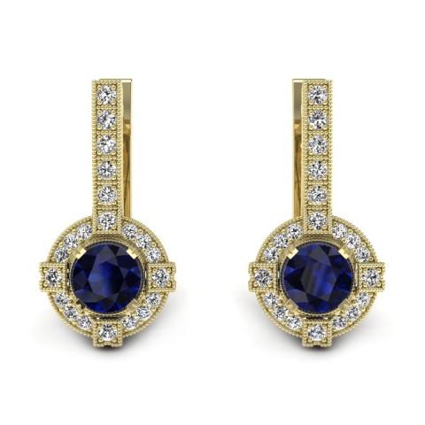 Audrey - Złote kolczyki z szafirami i diamentami