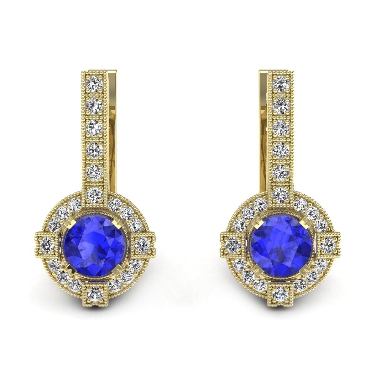 Audrey - Złote kolczyki z szafirami cejlońskimi i diamentami
