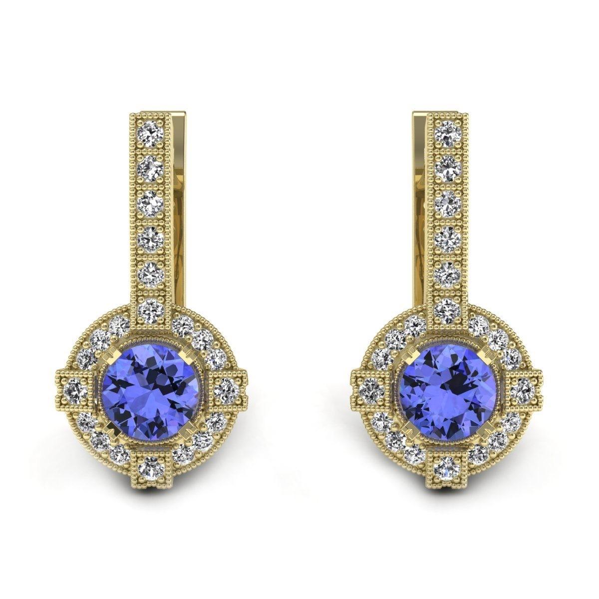 Audrey - Złote kolczyki z tanzanitami i diamentami
