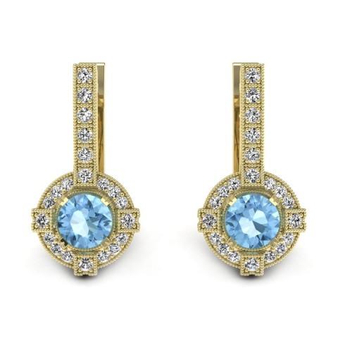 Audrey - Złote kolczyki z topazami i diamentami