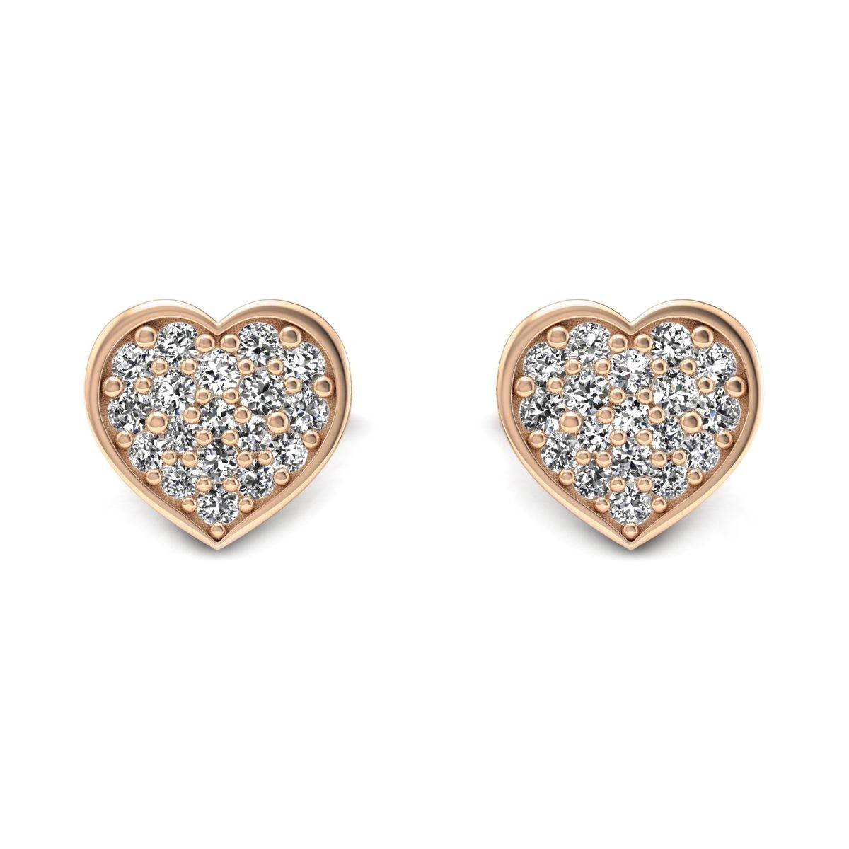 Heart - Kolczyki z diamentami różowe zloto