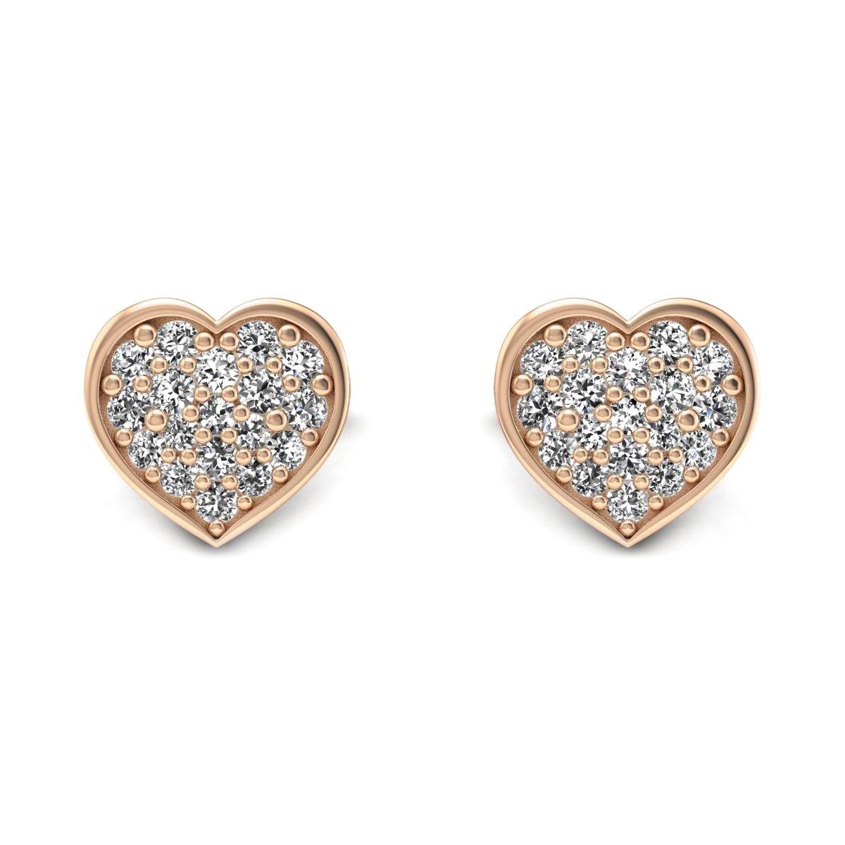 Heart - Różowe złoto kolczyki z diamentami