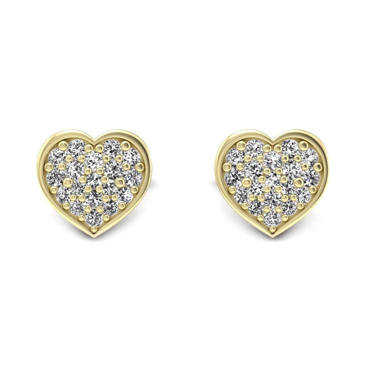 Heart - Złote kolczyki z diamentami