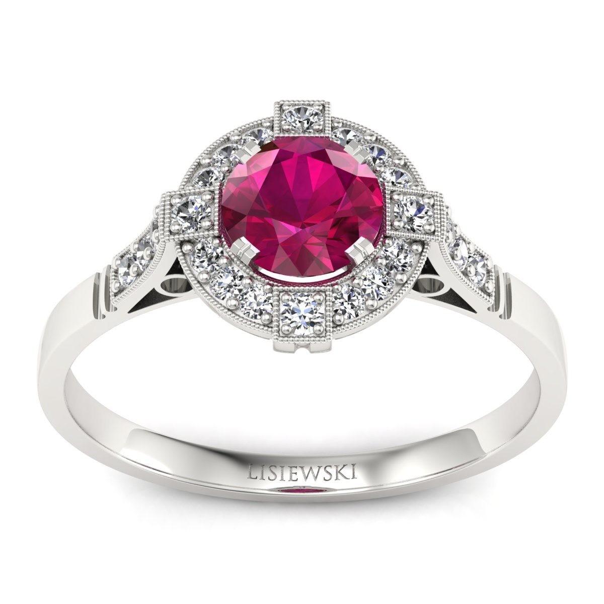 Audrey - Pierścionek z rubinem i diamentami