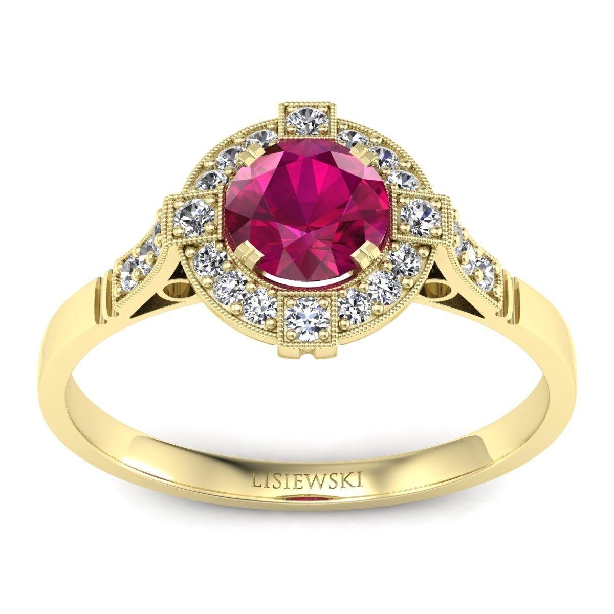 Audrey - Złoty pierścionek z rubinem i diamentami