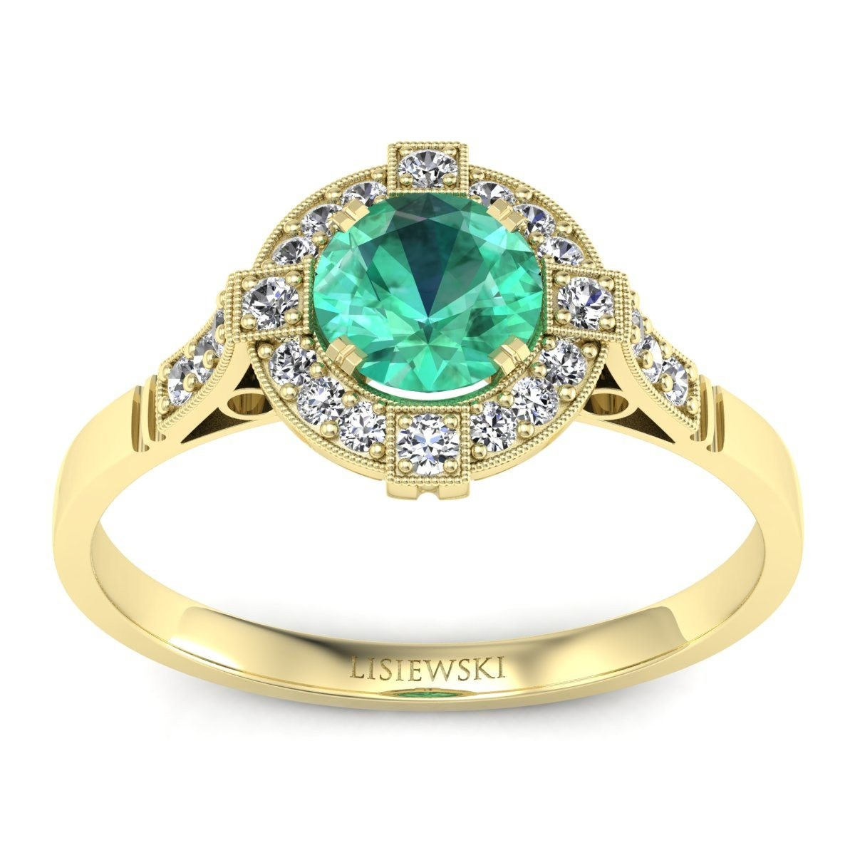 Audrey - Złoty pierścionek ze szmaragdem i diamentami