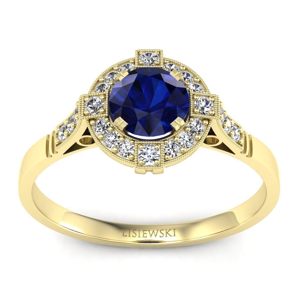 Audrey - Złoty pierścionek z szafirem i diamentami