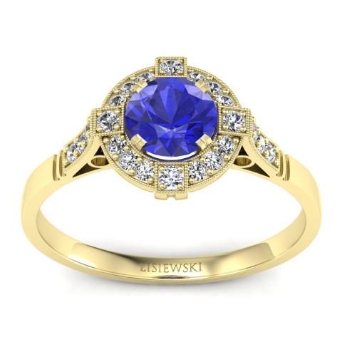 Audrey - Złoty pierścionek z szafirem cejlońskim i diamentami