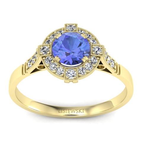 Audrey - Złoty pierścionek z tanzanitem i diamentami