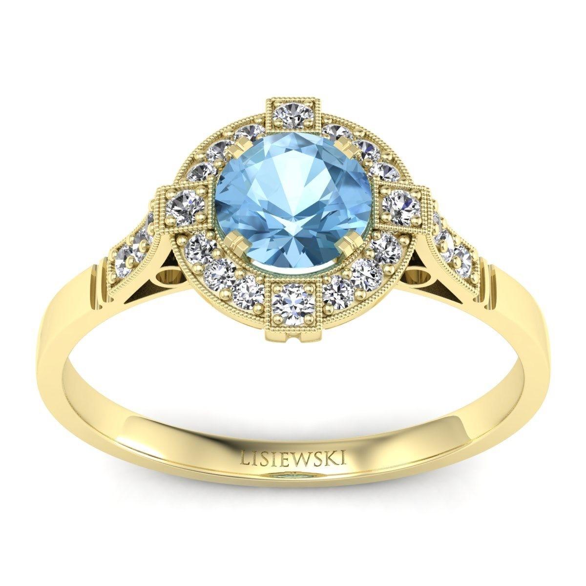 Audrey - Złoty pierścionek z topazem i diamentami