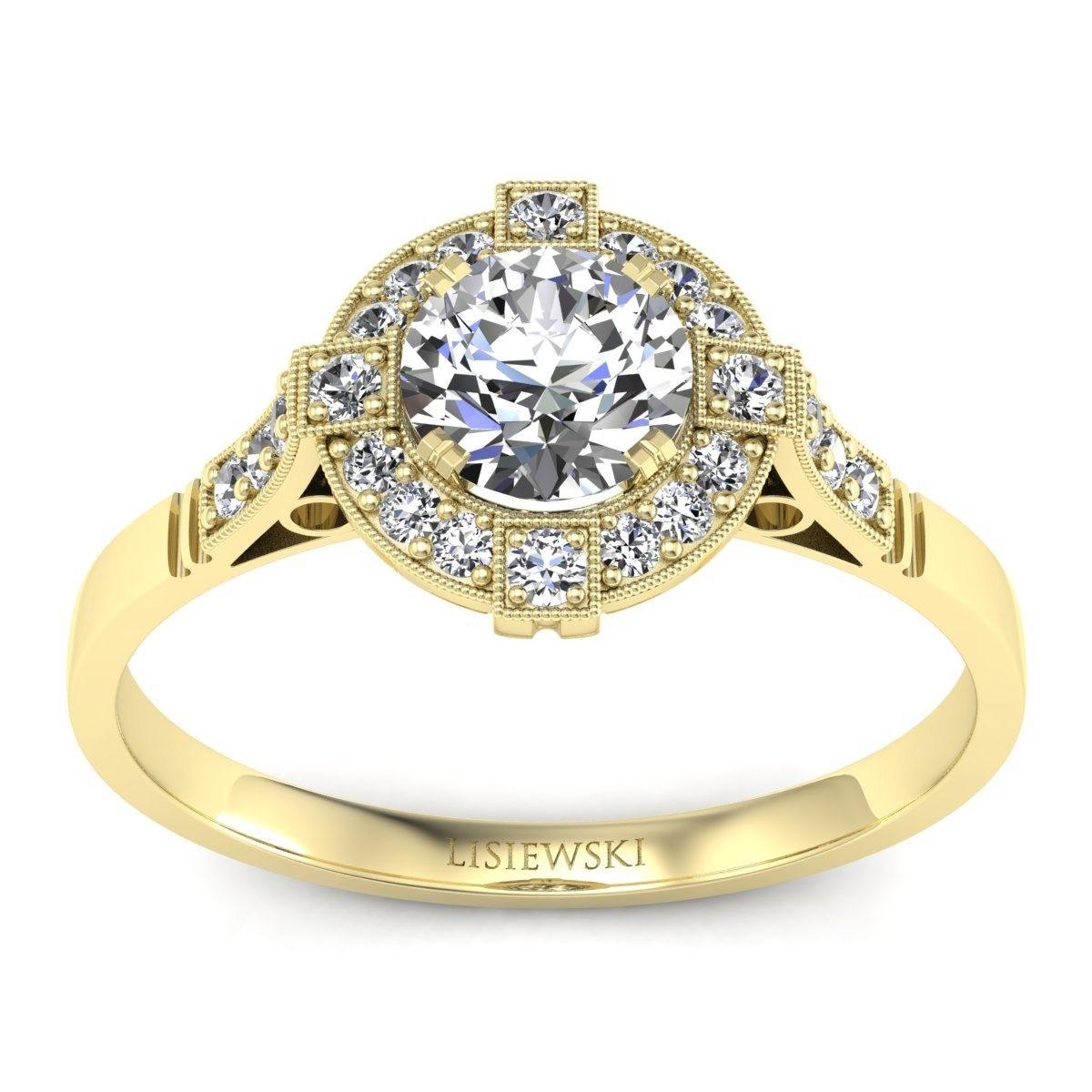 Audrey - Pierścionek z diamentami żółte złoto