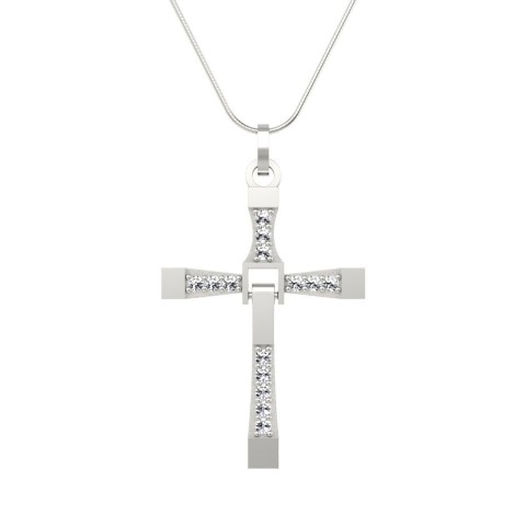 Wisiorek z diamentami - Krzyżyk zawieszka białe złoto