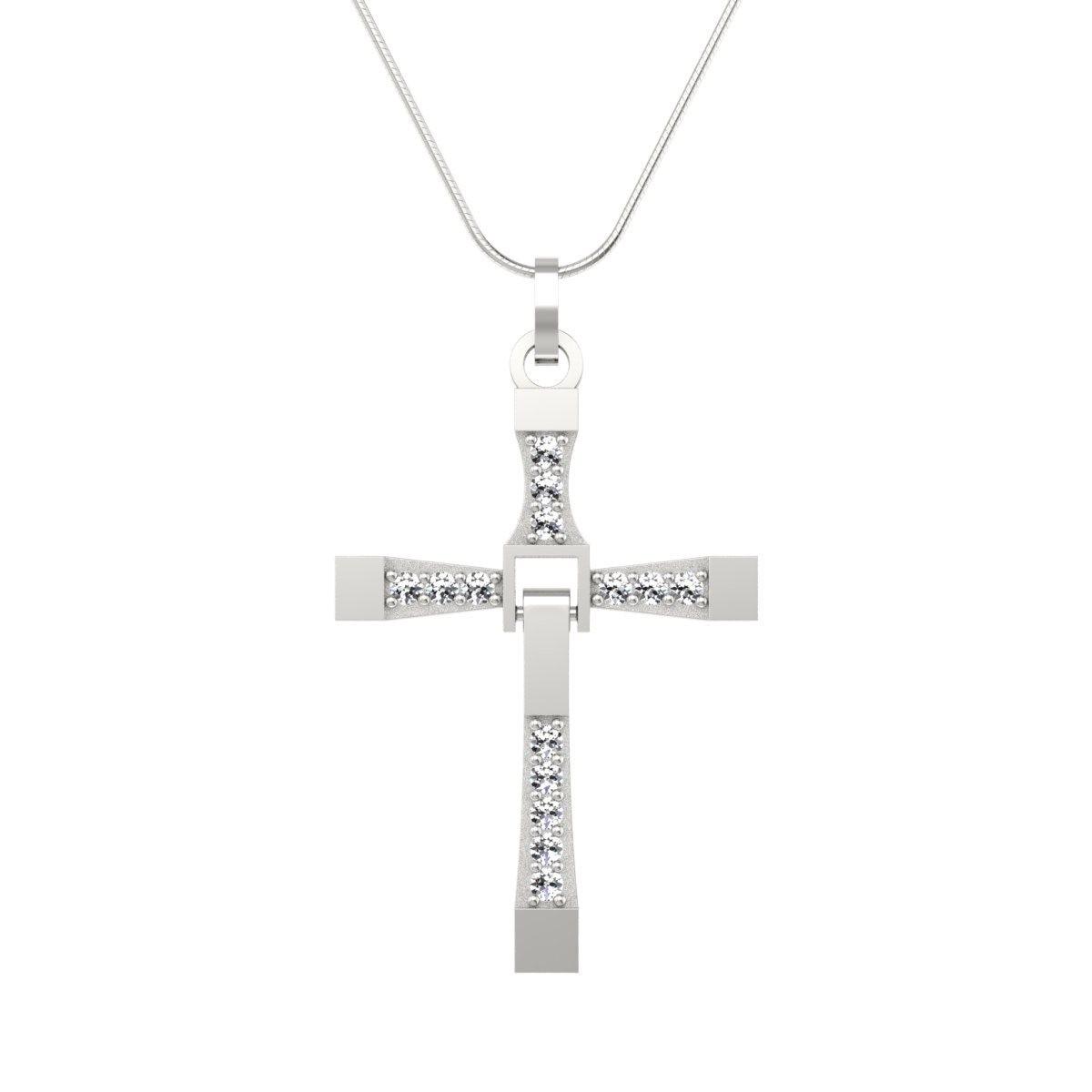 Wisiorek z diamentami białe złoto - Krzyżyk zawieszka
