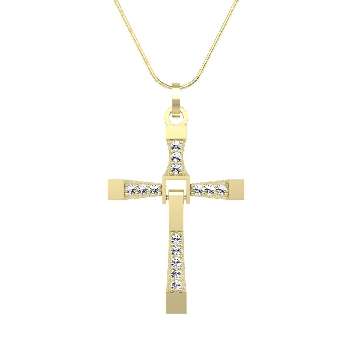 Wisiorek z diamentami żółte złoto - Krzyżyk zawieszka