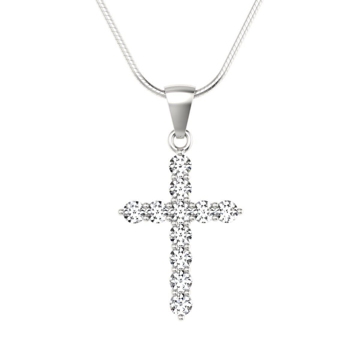 Krzyżyk z diamentami - wisiorek zawieszka