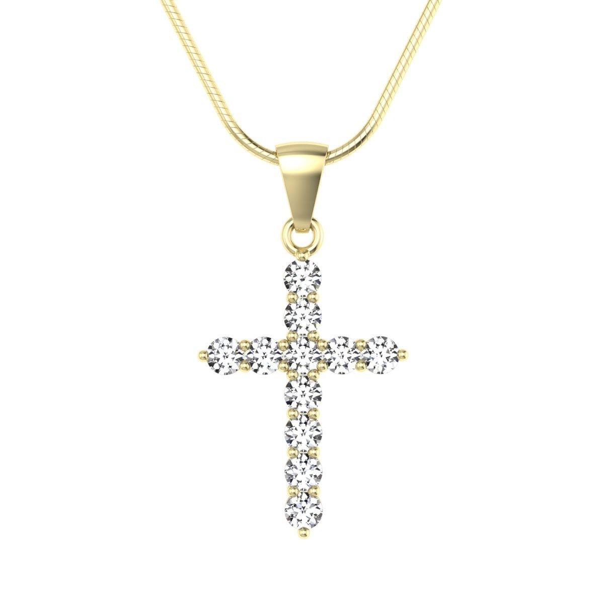 Złoty krzyżyk z diamentami - wisiorek zawieszka