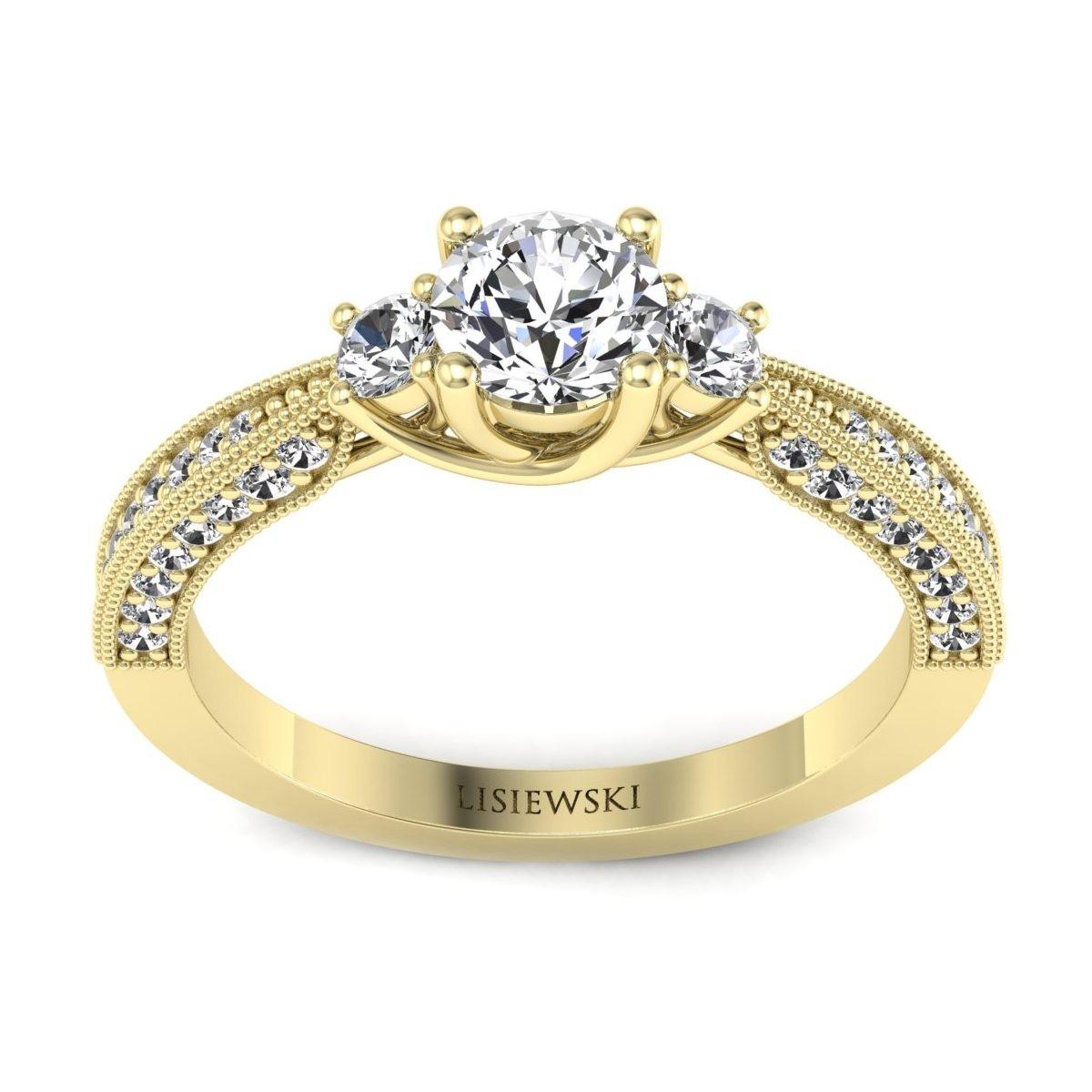 Melania - Pierścionek złoty z diamentami