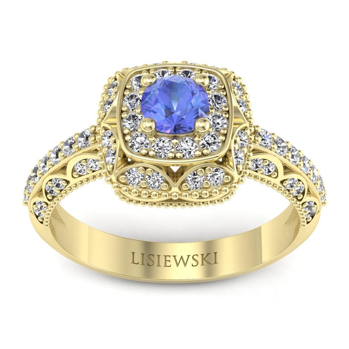 Elizabeth - Pierścionek złoty z tanzanitem i diamentami