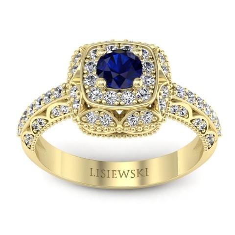 Elizabeth - Pierścionek z szafirem i diamentami złoty