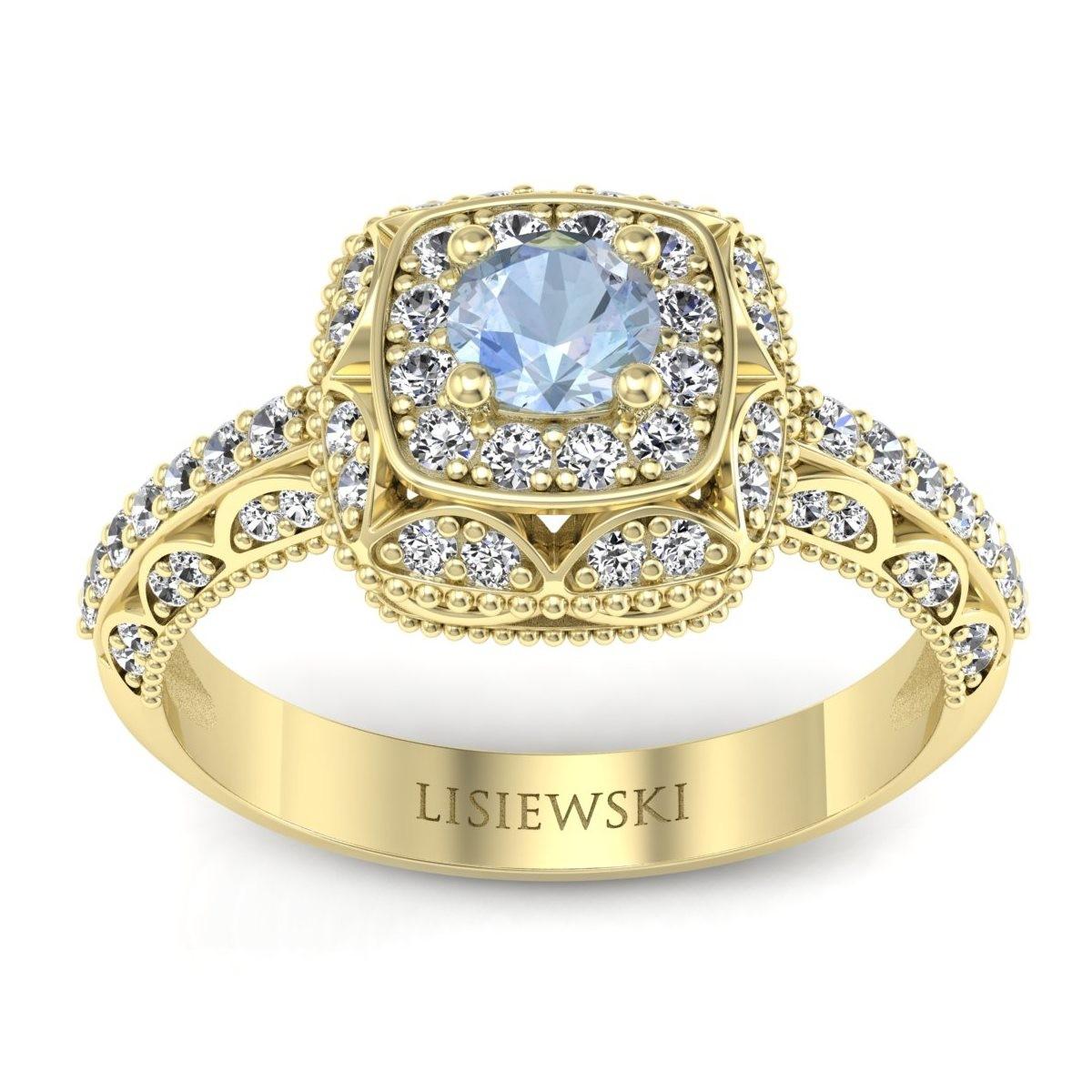 Elizabeth - Pierścionek z akwamarynem i diamentami złoty