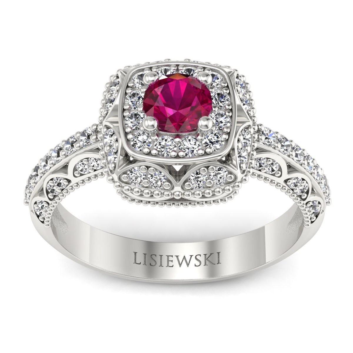 Elizabeth - Pierścionek z rubinem i diamentami