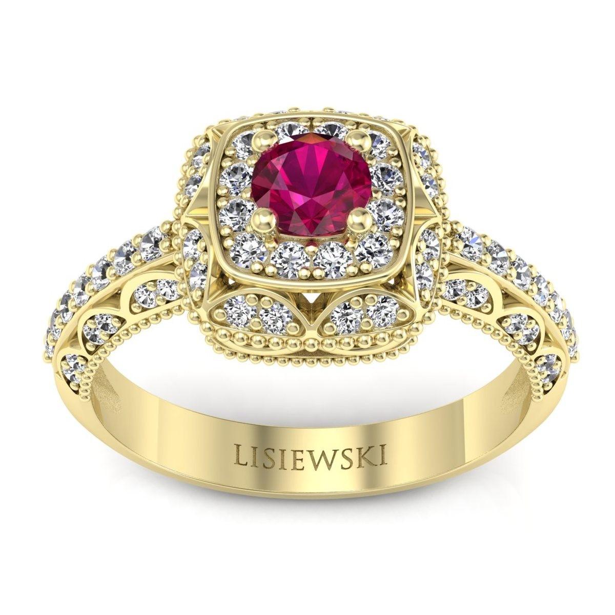 Elizabeth - Pierścionek z rubinem i diamentami złoty